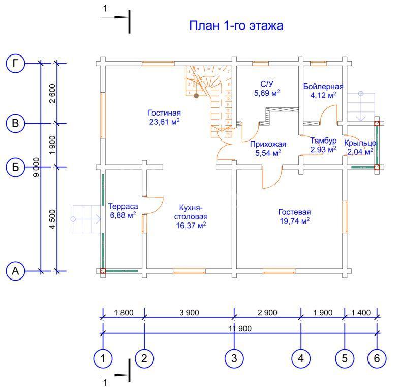 Проектные работы по дому из клееного бруса - планы