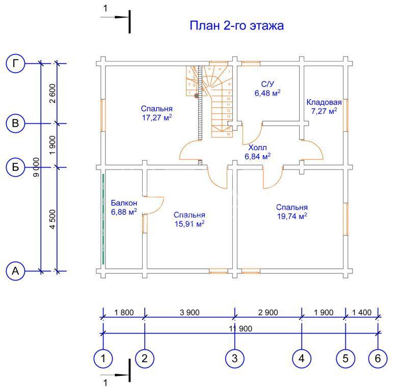 Проектные работы по дому из клееного бруса - планы 2