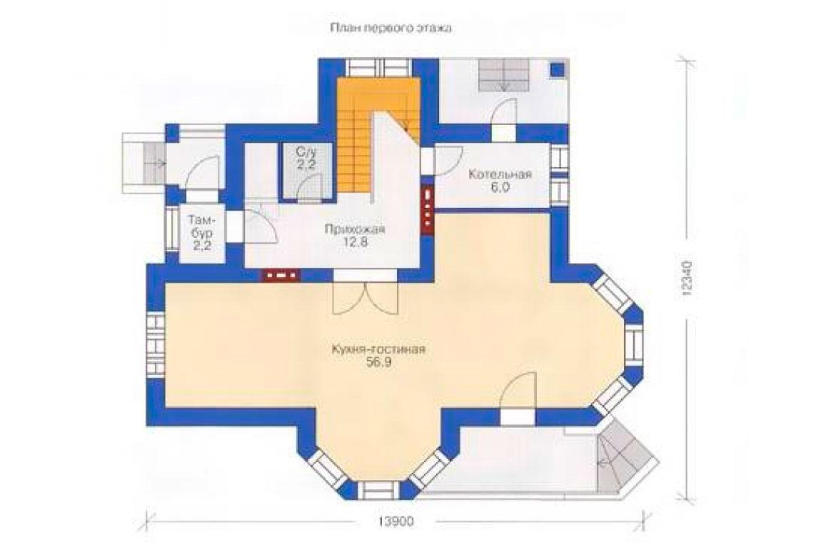 План N1 проекта кирпичного дома АСД-1010