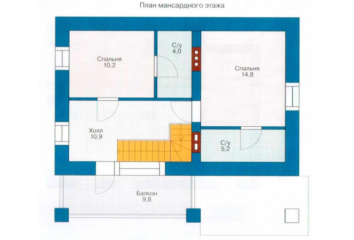 План N1 проекта дома из блоков АСД-1102