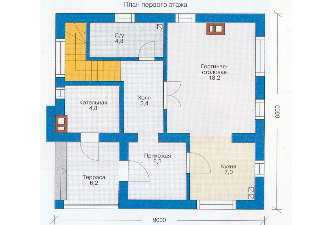 План N2 проекта дома из блоков АСД-1103