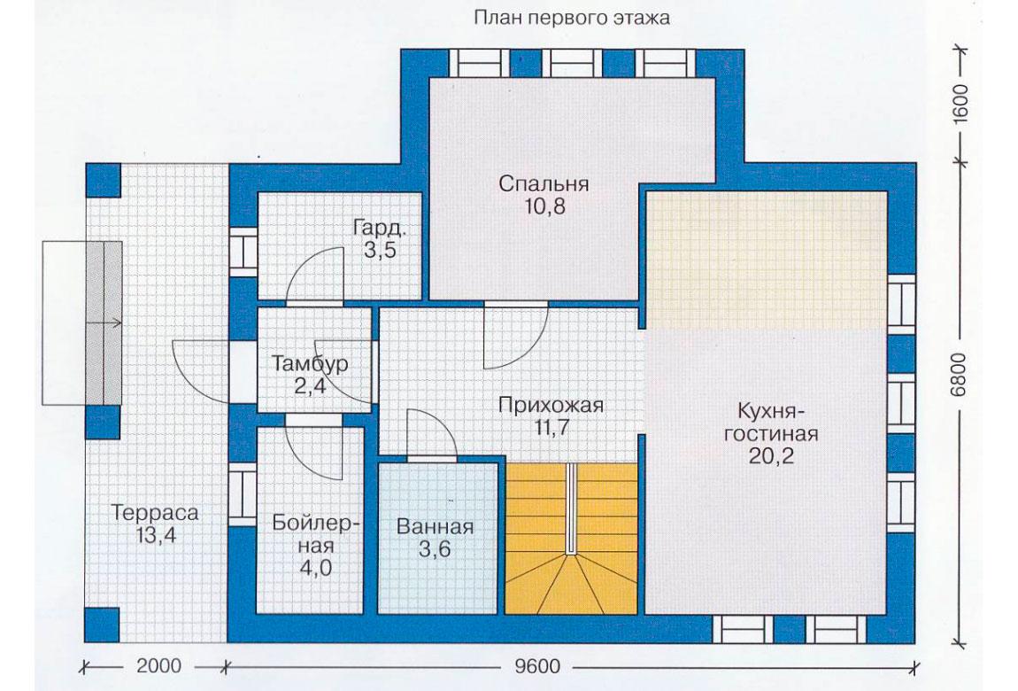 План N2 проекта дома из блоков АСД-1104