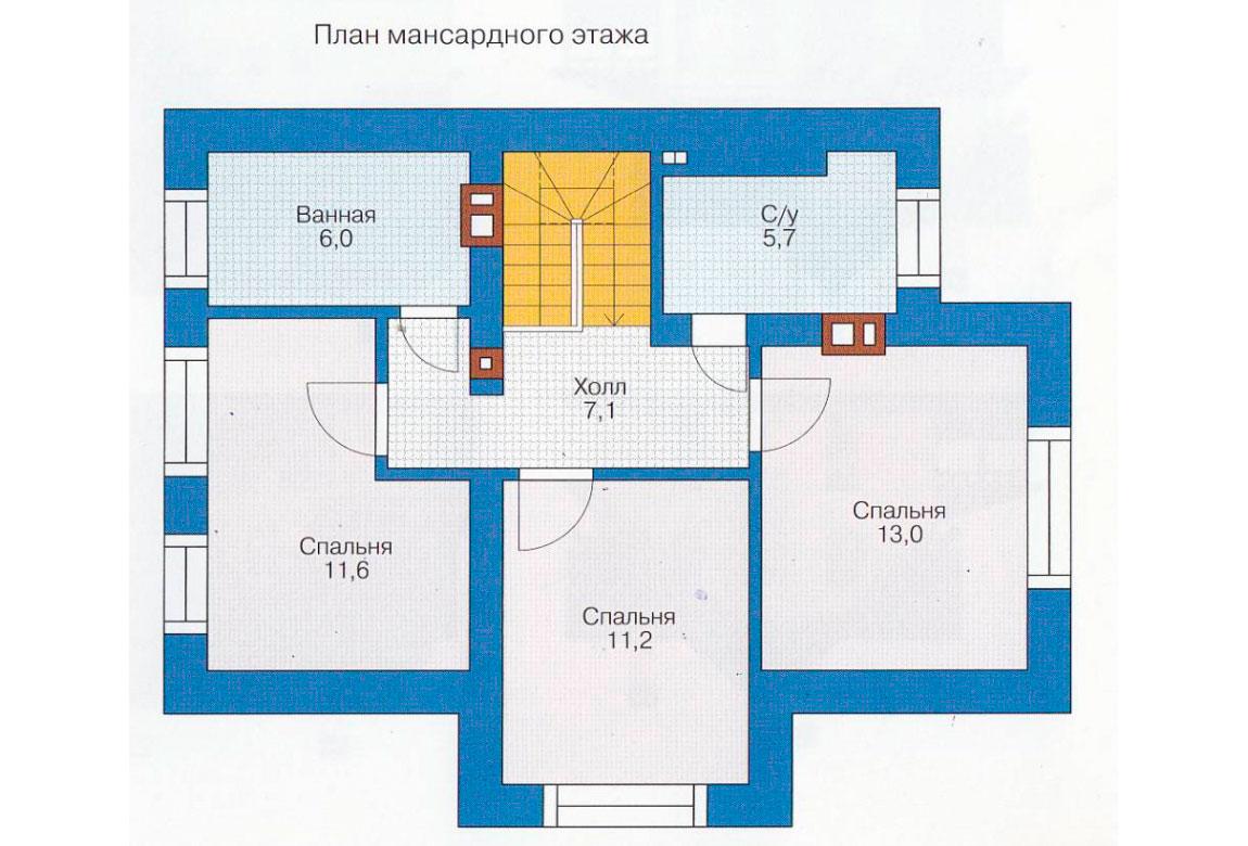 План N1 проекта дома из блоков АСД-1107