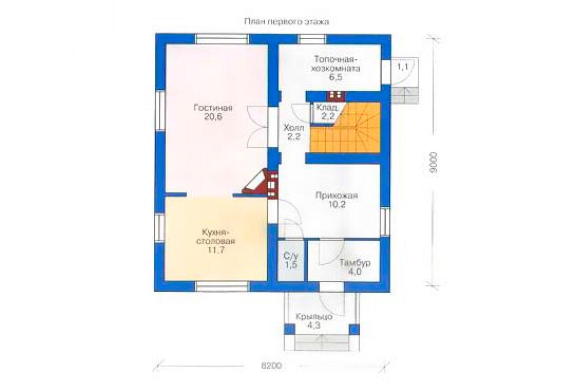 План N1 проекта дома из блоков АСД-1109
