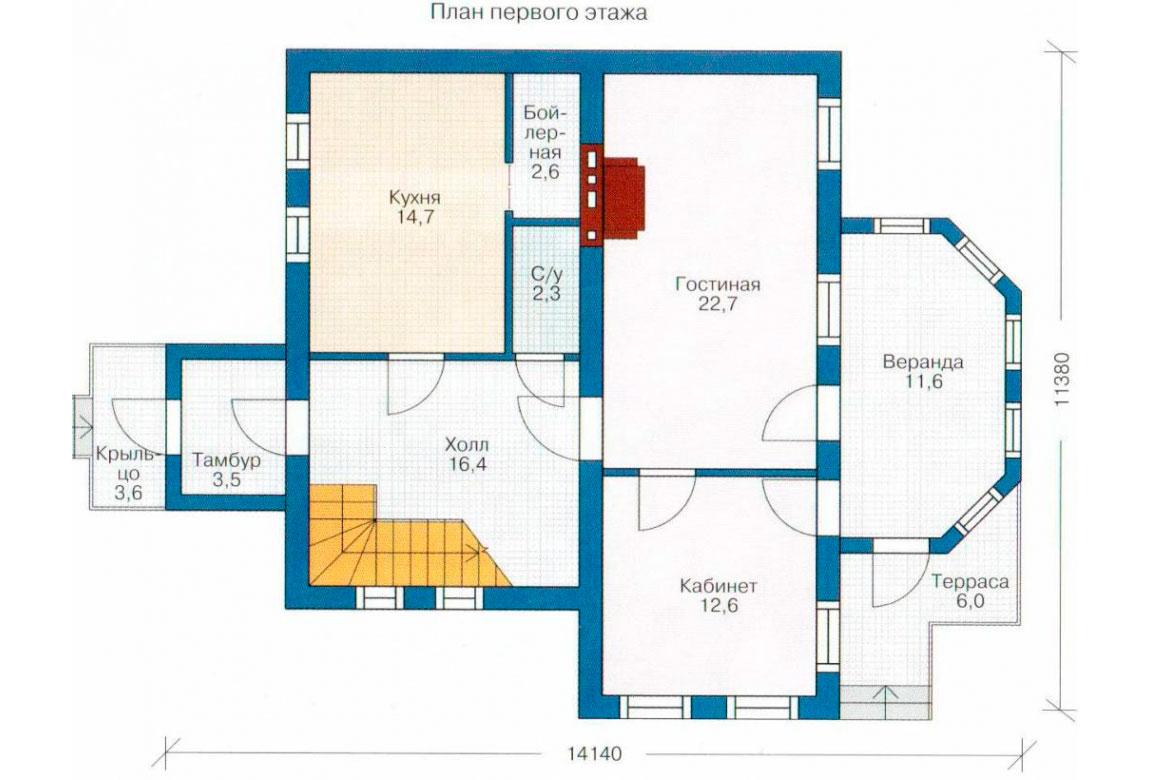 План N1 проекта кирпичного дома АСД-1011