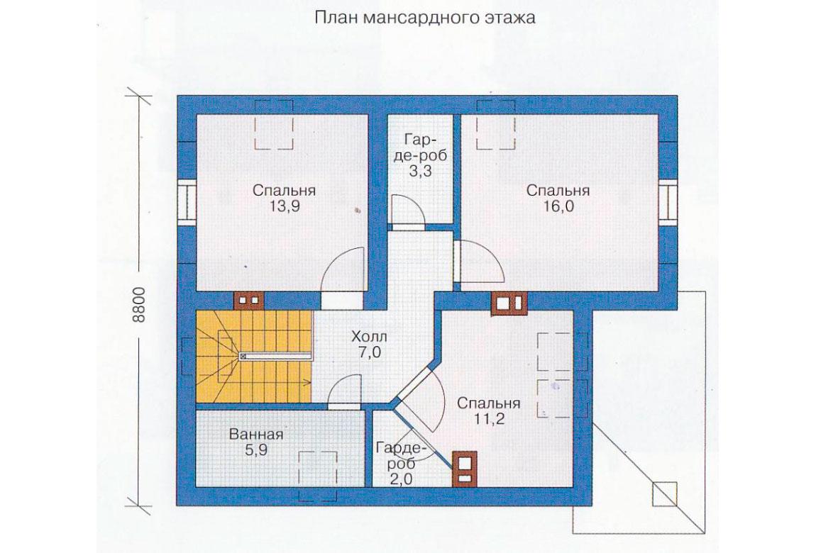 План N1 проекта дома из блоков АСД-1110