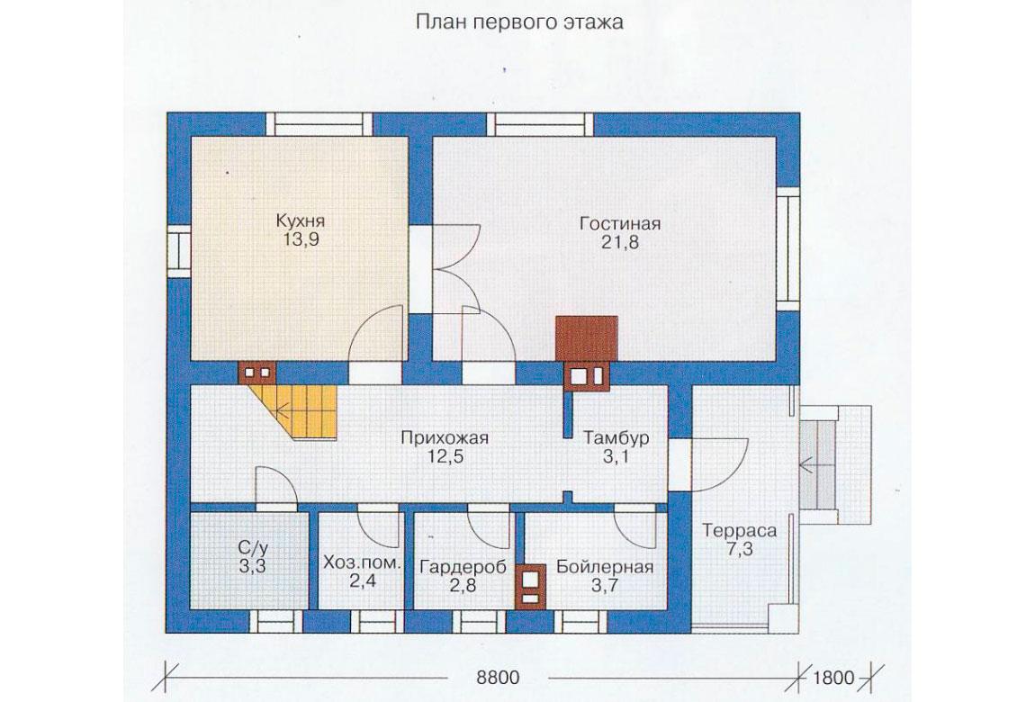 План N2 проекта дома из блоков АСД-1110