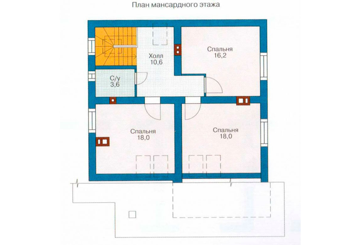 План N1 проекта дома из блоков АСД-1112