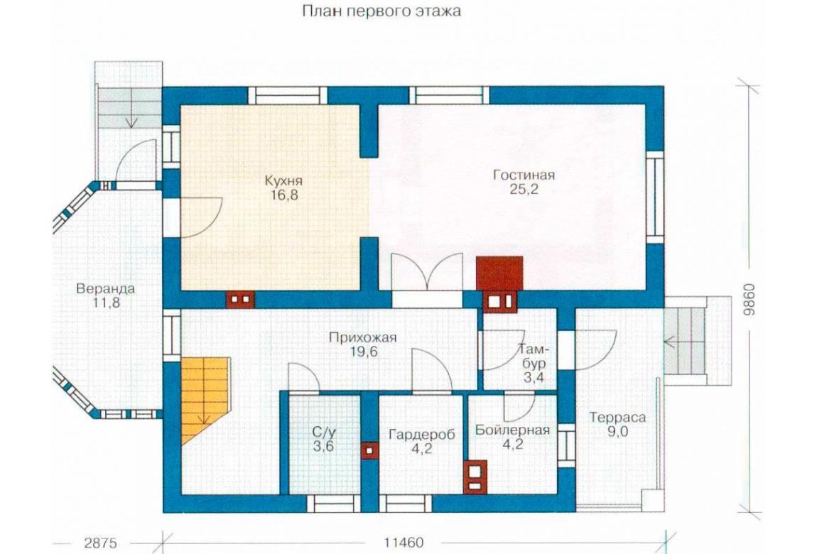 План N1 проекта дома из блоков АСД-1113