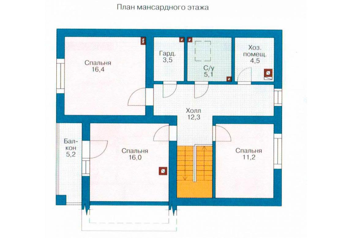 План N1 проекта дома из блоков АСД-1114