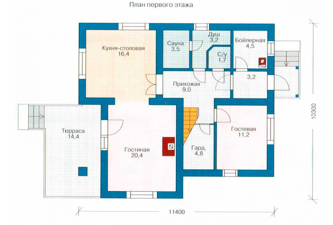 План N2 проекта дома из блоков АСД-1114