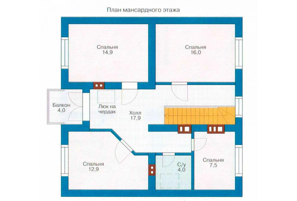План N1 проекта дома из блоков АСД-1115