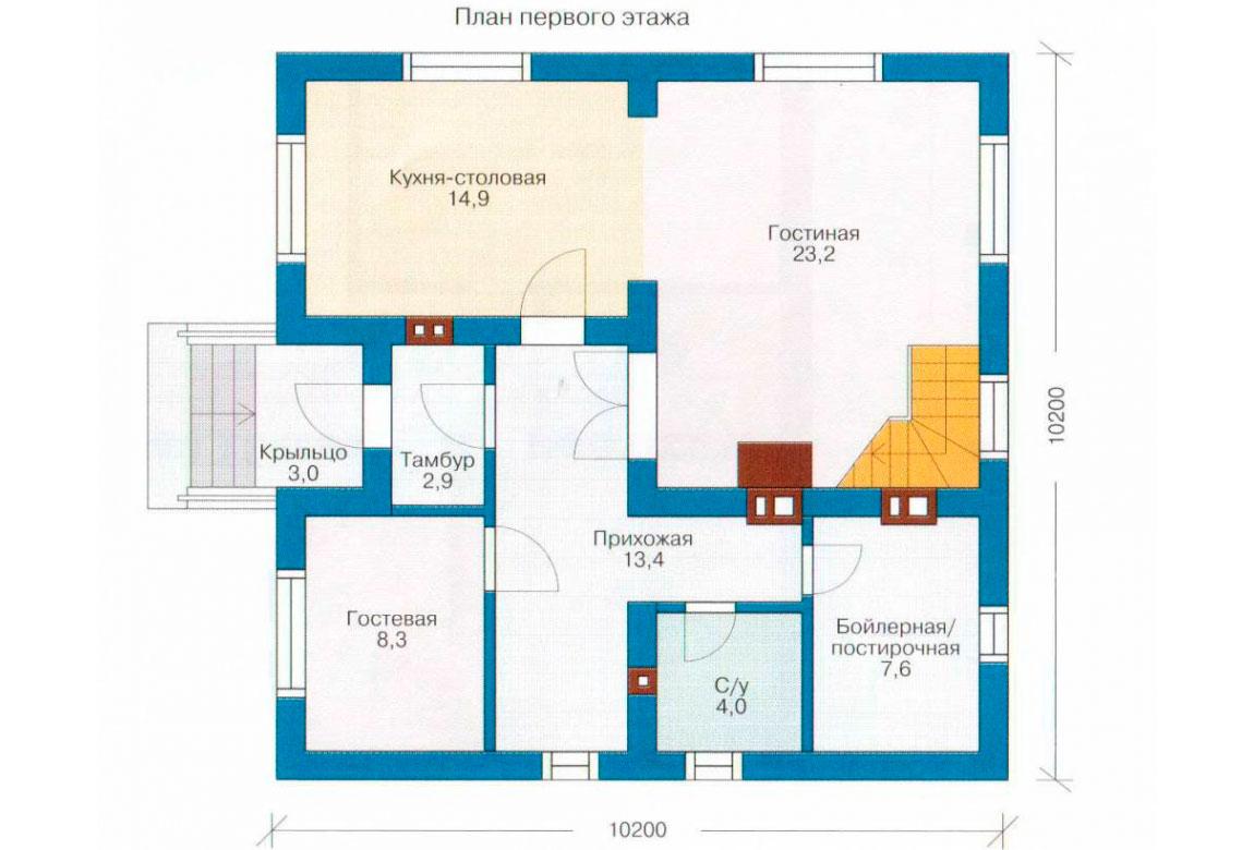 План N2 проекта дома из блоков АСД-1115