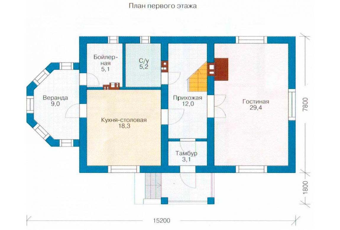 План N1 проекта дома из блоков АСД-1117