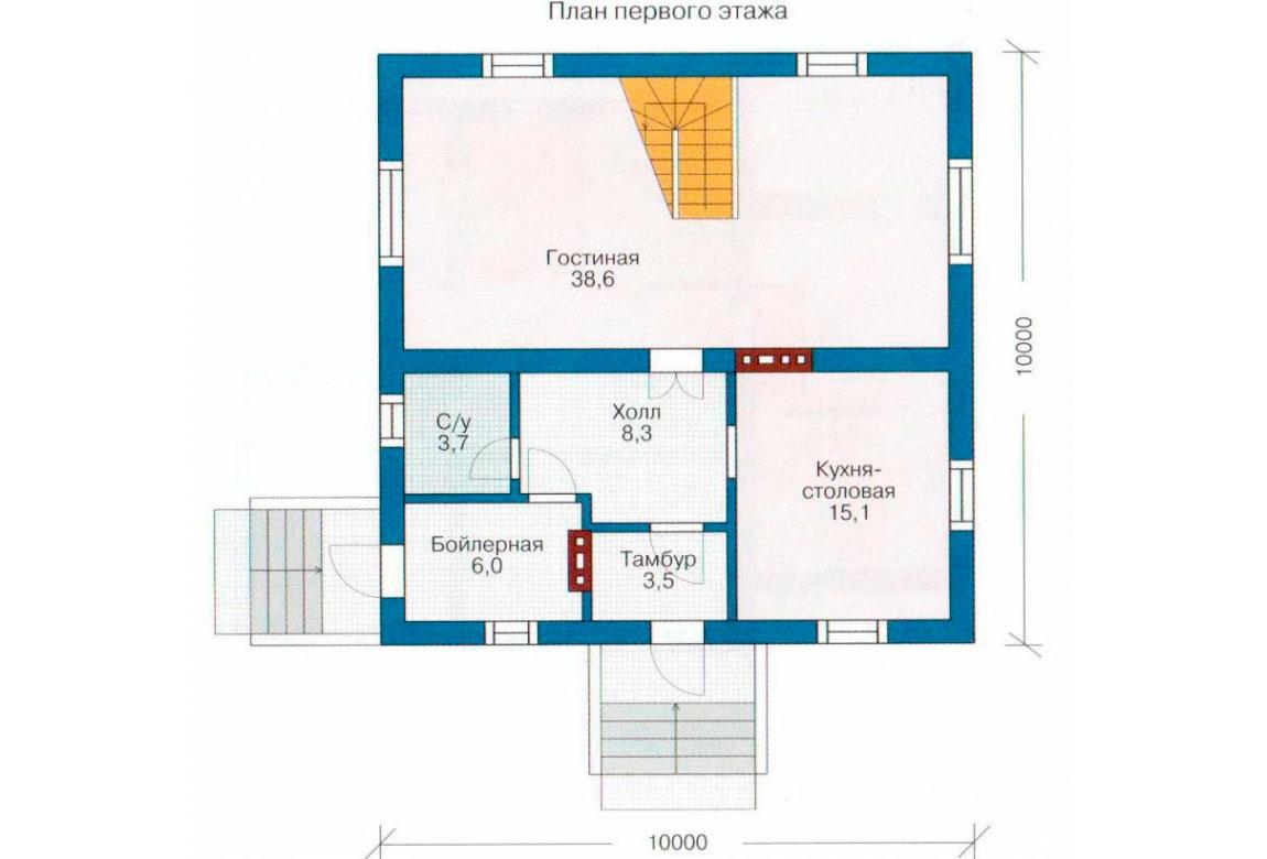 План N1 проекта дома из блоков АСД-1119