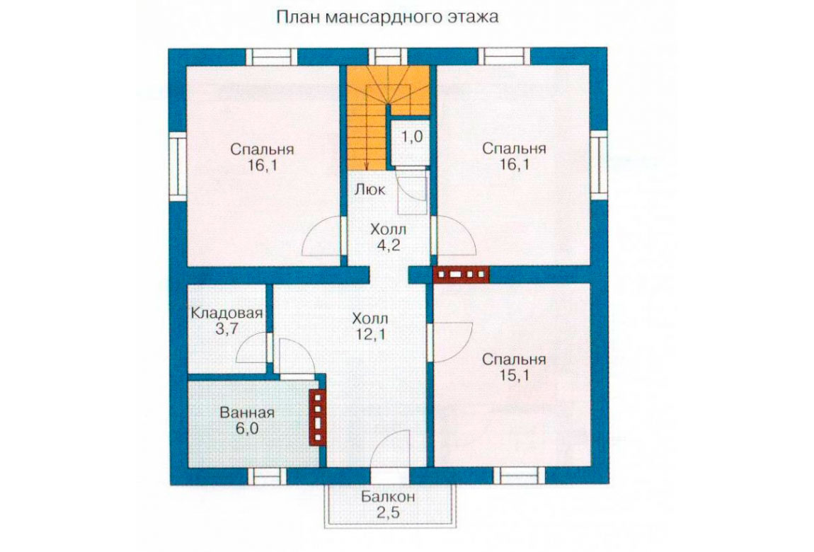 План N2 проекта дома из блоков АСД-1119