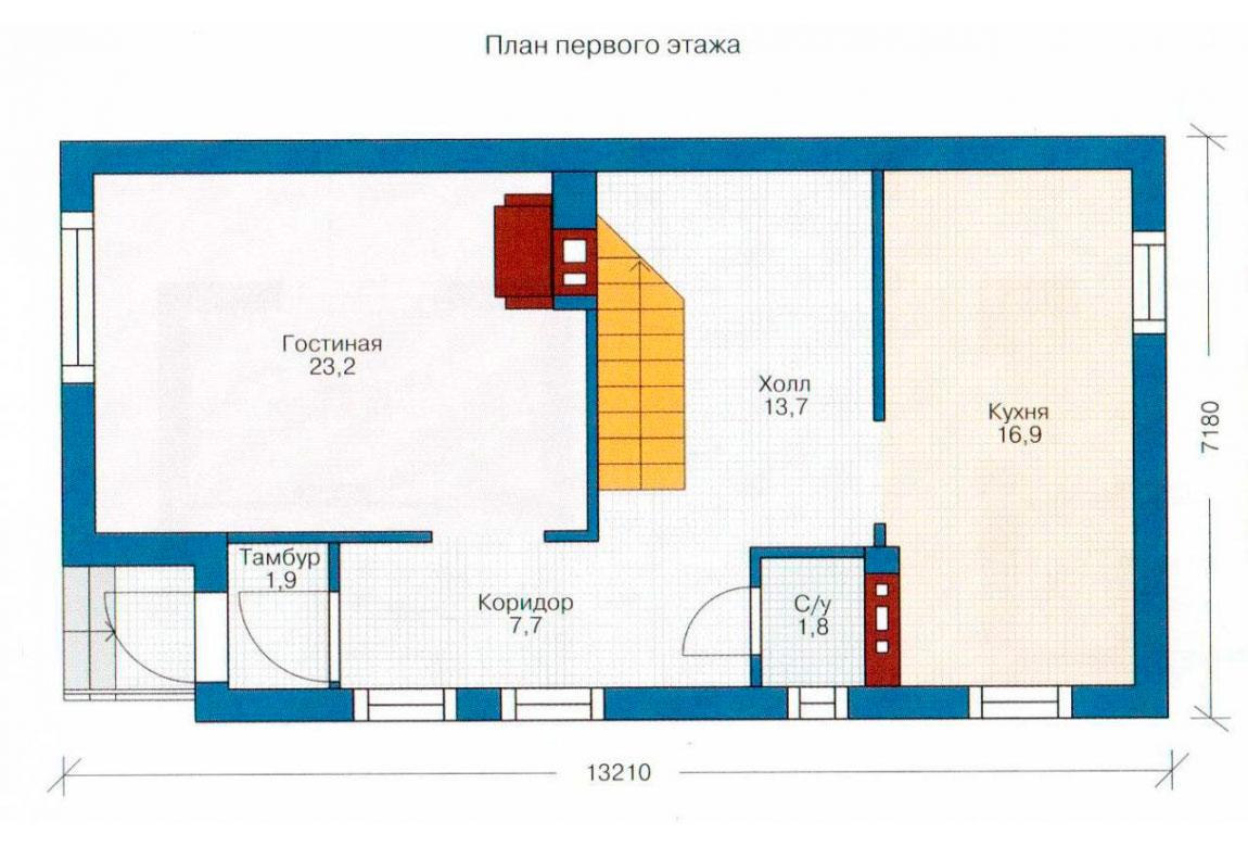 План N1 проекта кирпичного дома АСД-1012