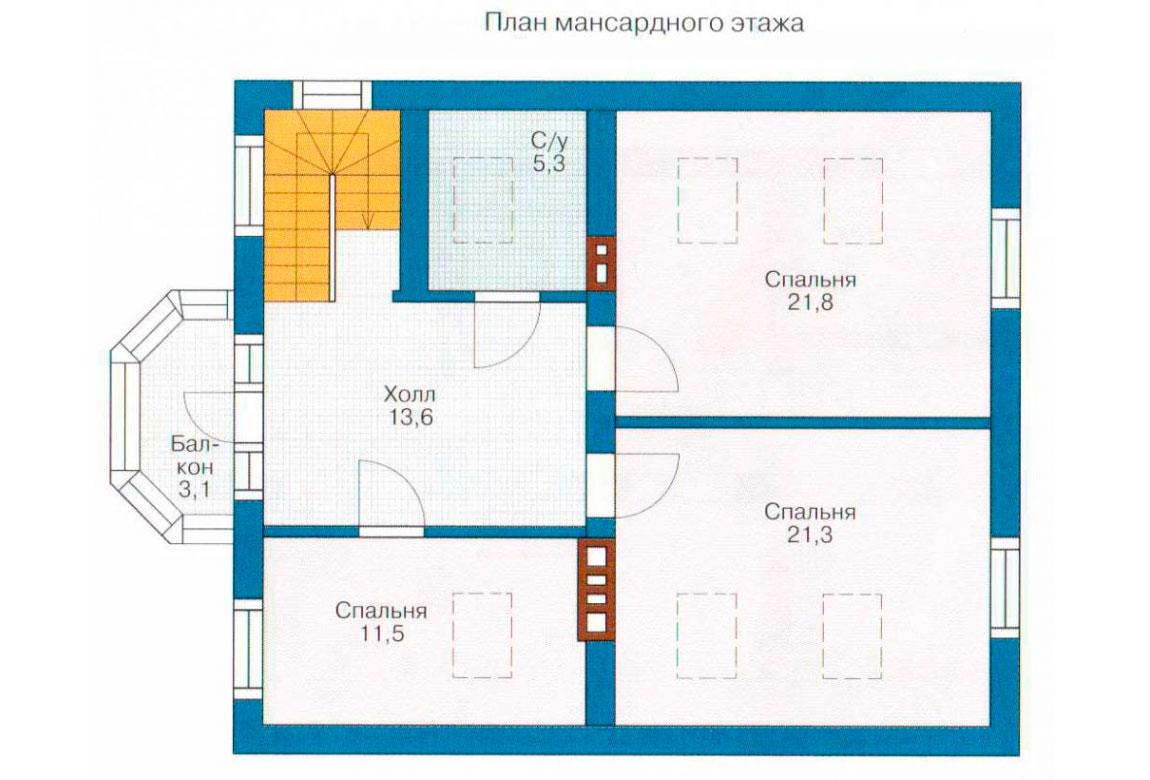 План N1 проекта дома из блоков АСД-1120