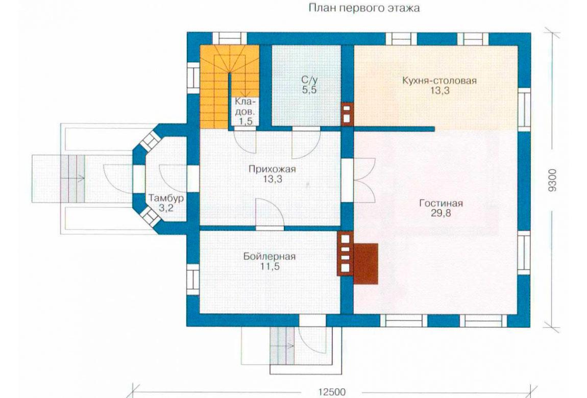 План N2 проекта дома из блоков АСД-1120
