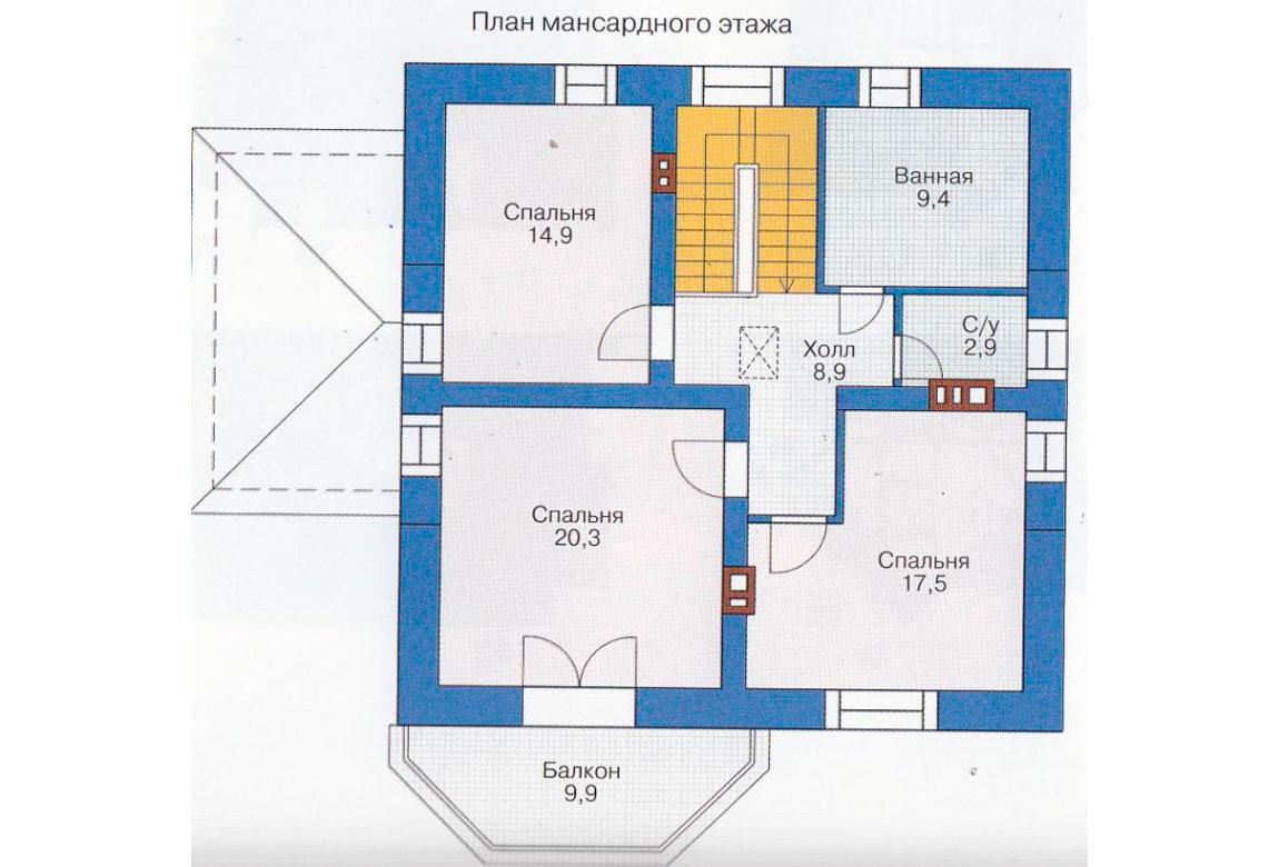 План N1 проекта дома из блоков АСД-1121