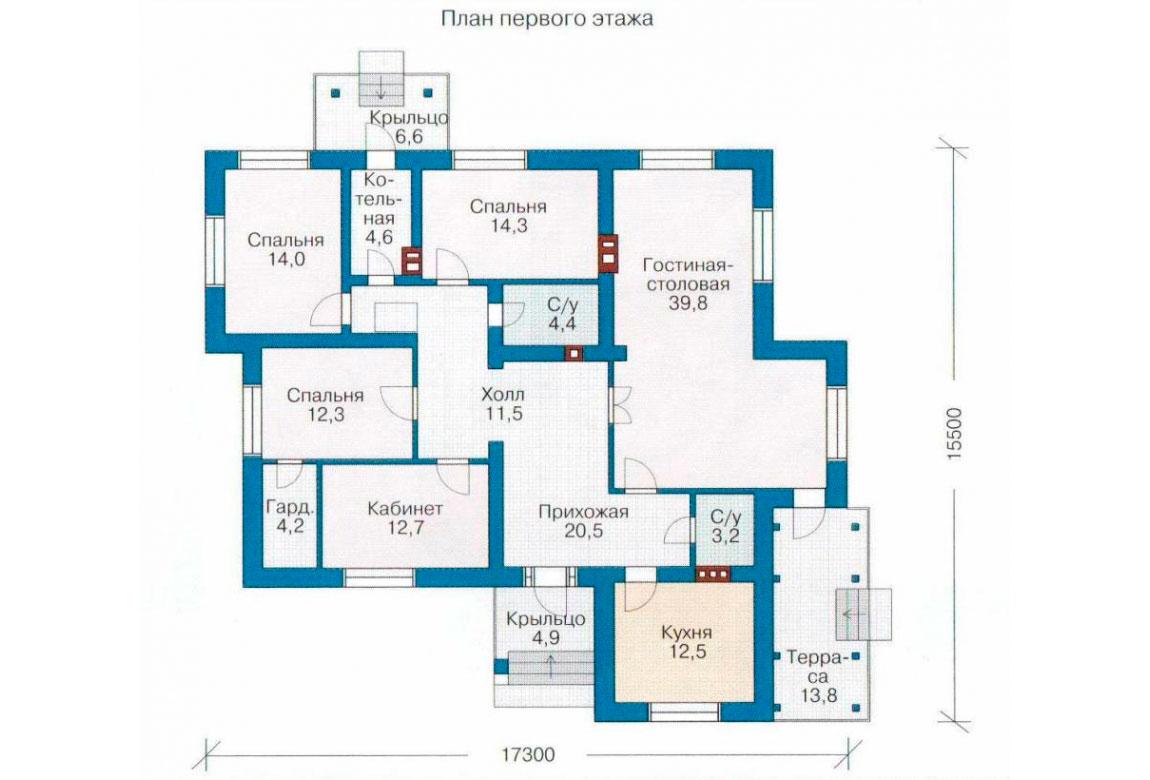 План N1 проекта дома из блоков АСД-1123