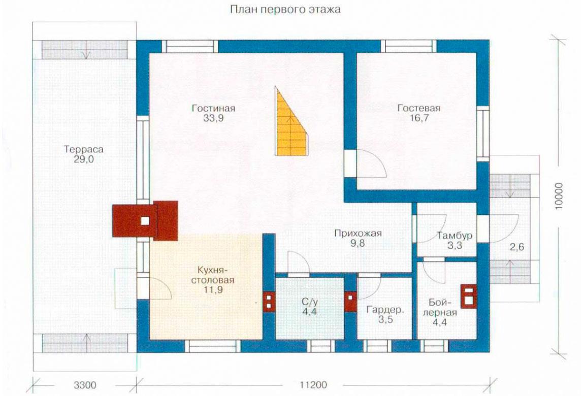 План N1 проекта дома из блоков АСД-1124