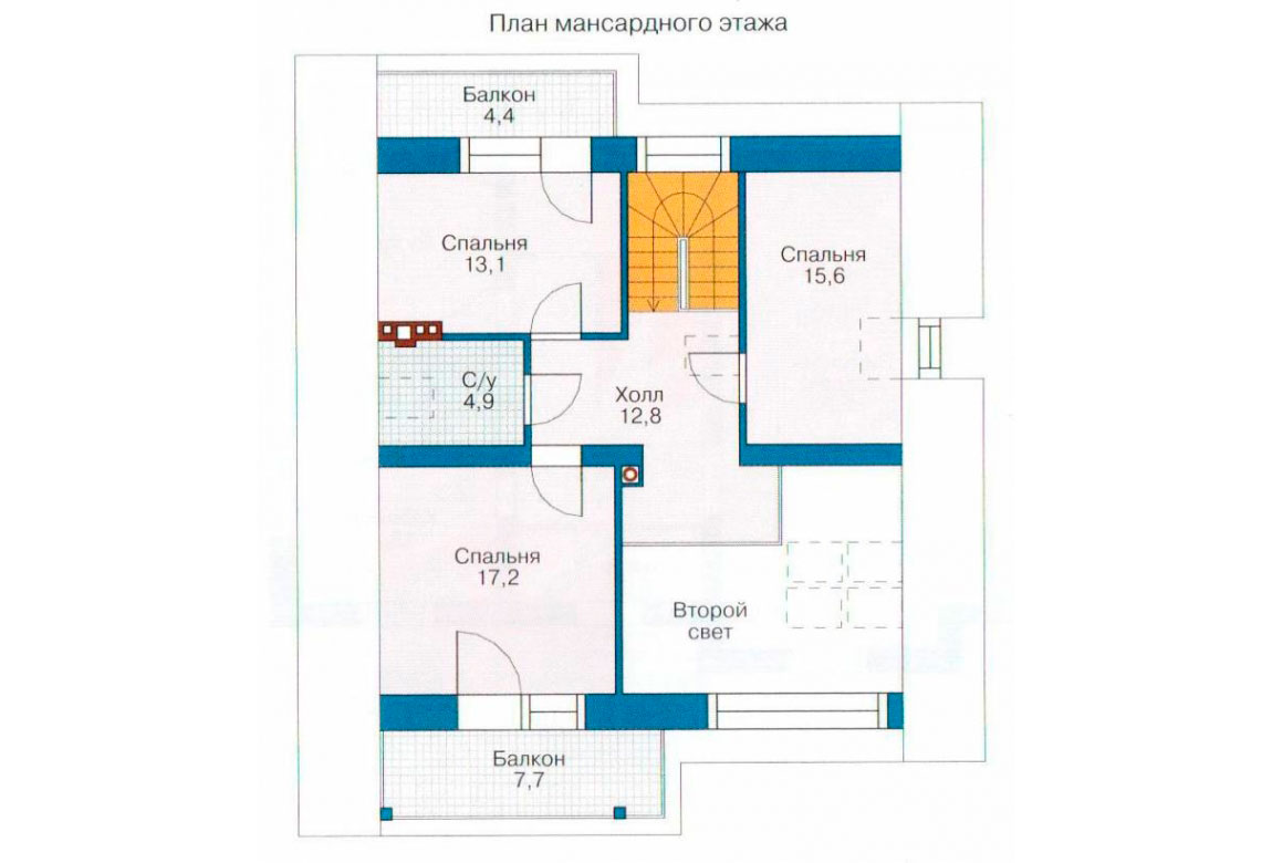 План N2 проекта дома из блоков АСД-1125