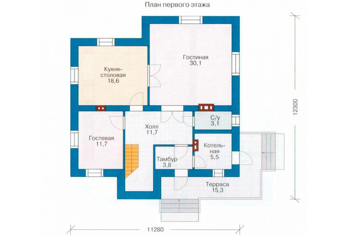 План N2 проекта дома из блоков АСД-1127