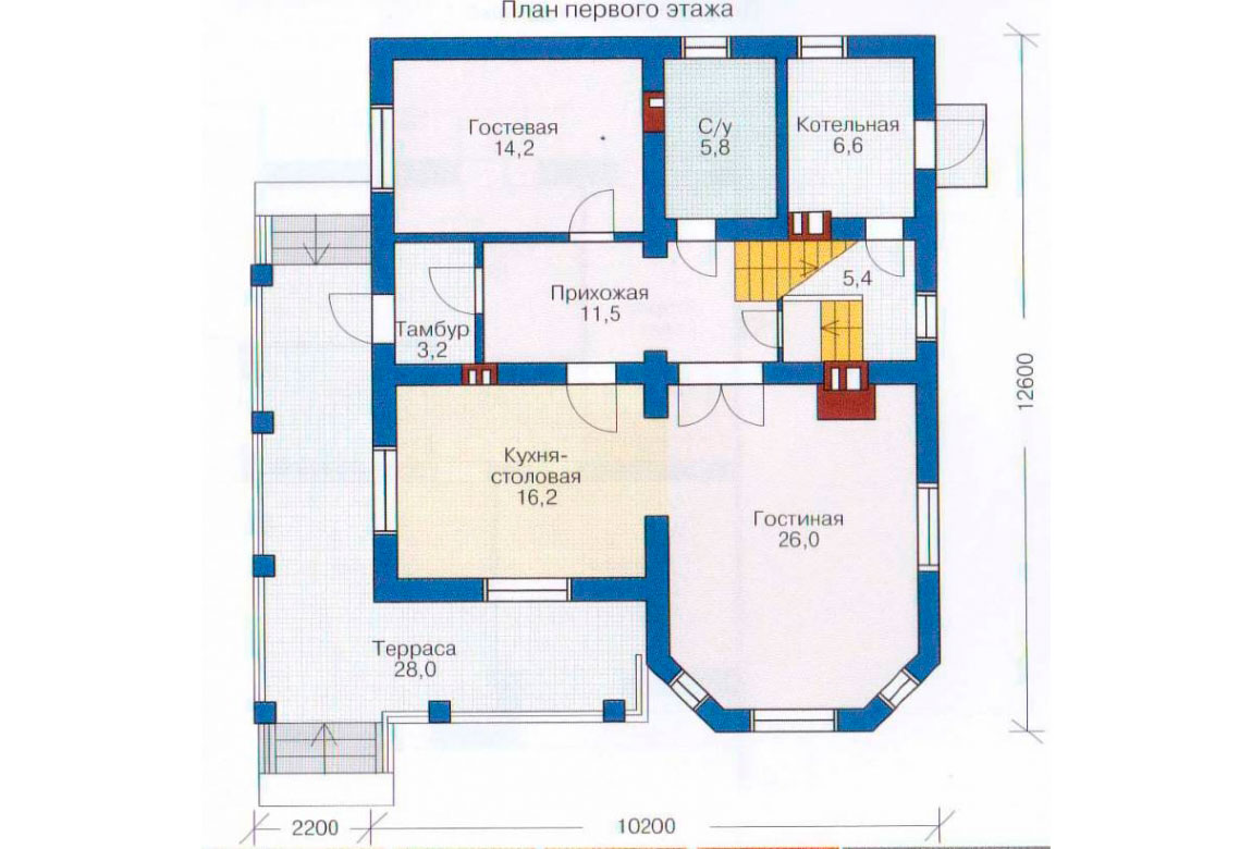 План N1 проекта дома из блоков АСД-1128
