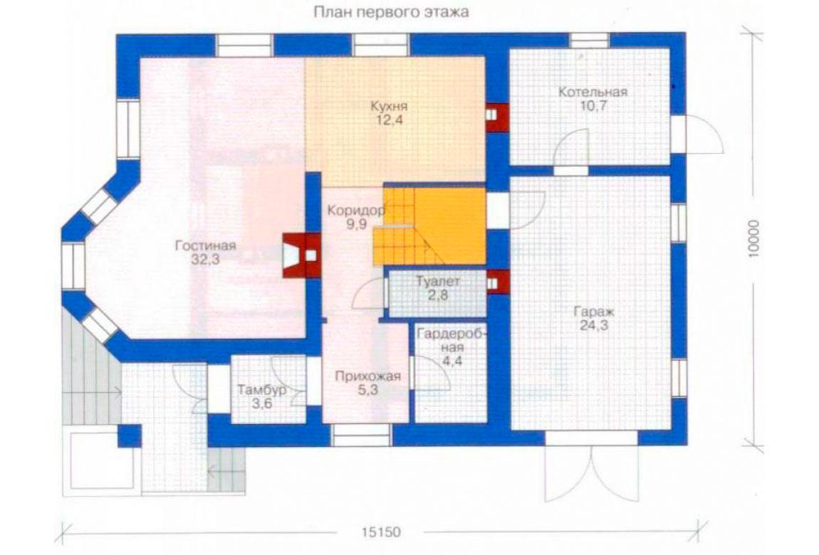 План N2 проекта дома из блоков АСД-1129
