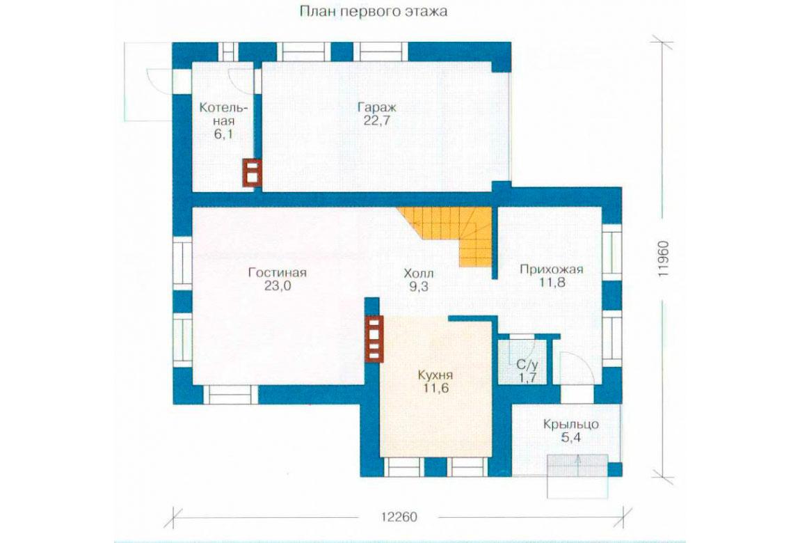 План N1 проекта кирпичного дома АСД-1013