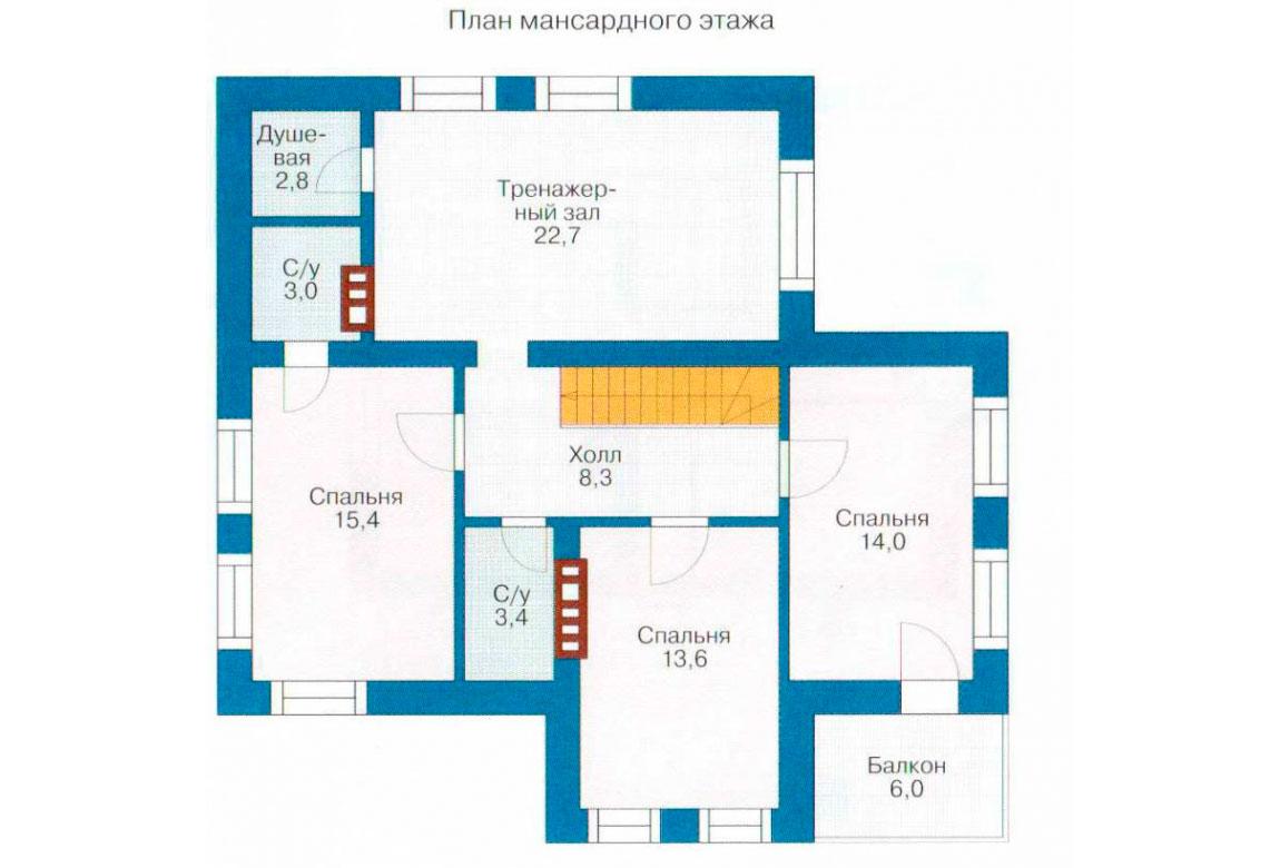 План N2 проекта кирпичного дома АСД-1013