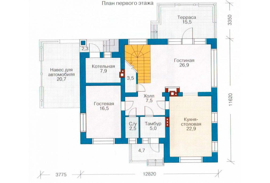 План N1 проекта дома из блоков АСД-1130