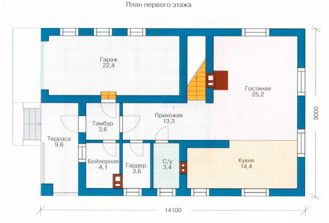 План N2 проекта дома из блоков АСД-1131