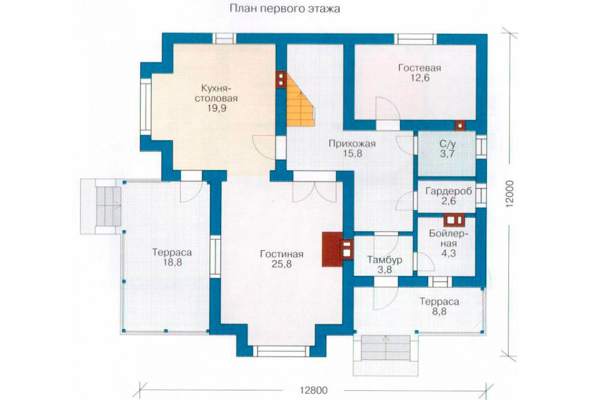 План N2 проекта дома из блоков АСД-1132