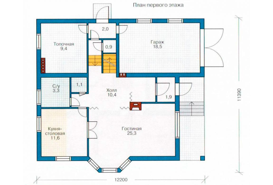 План N1 проекта дома из блоков АСД-1133