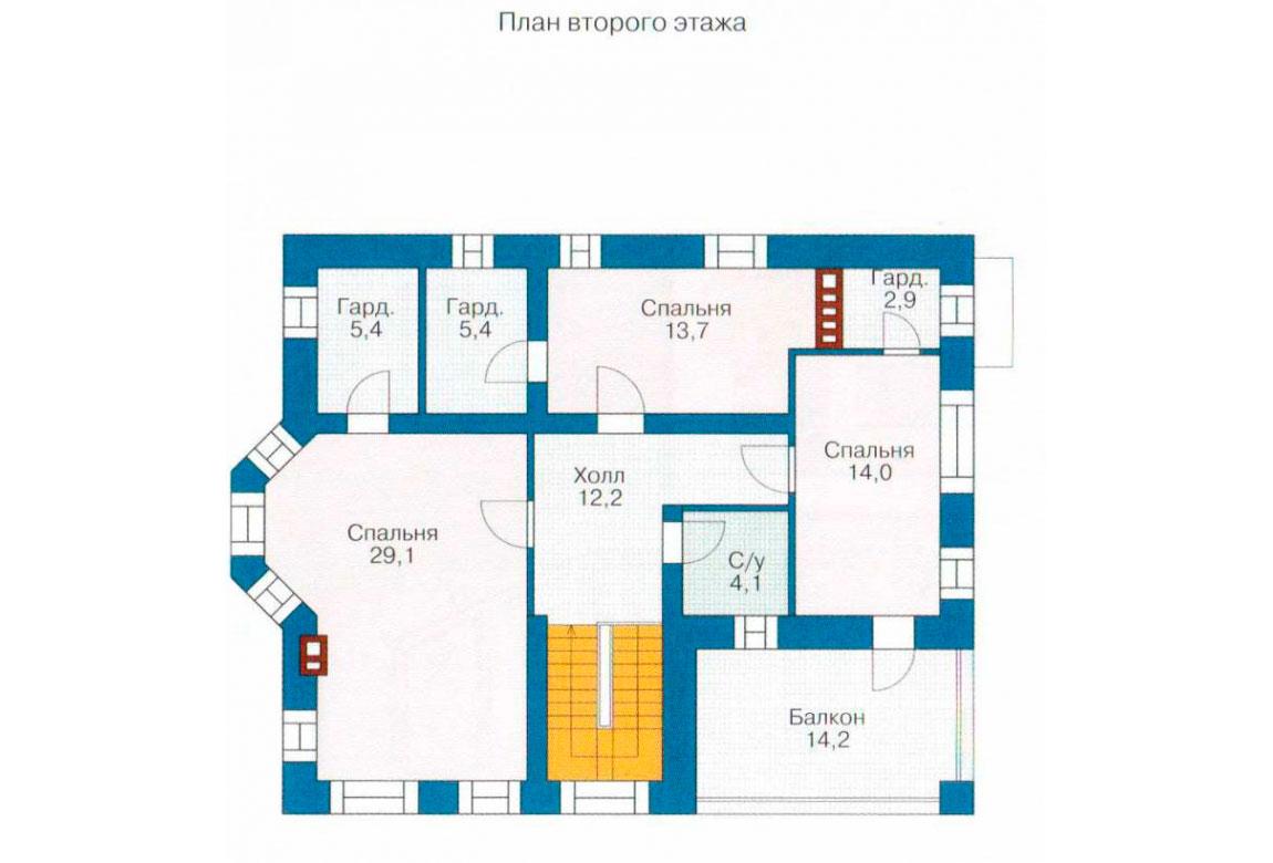 План N1 проекта дома из блоков АСД-1135