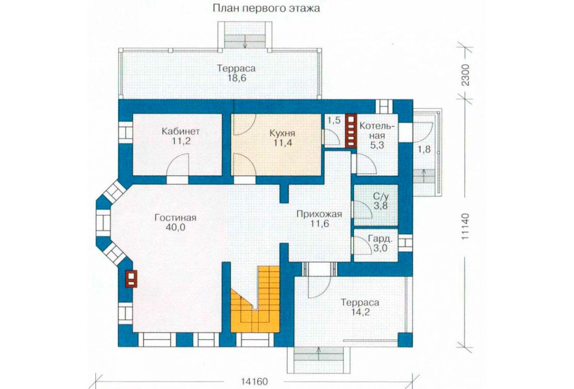 План N2 проекта дома из блоков АСД-1135