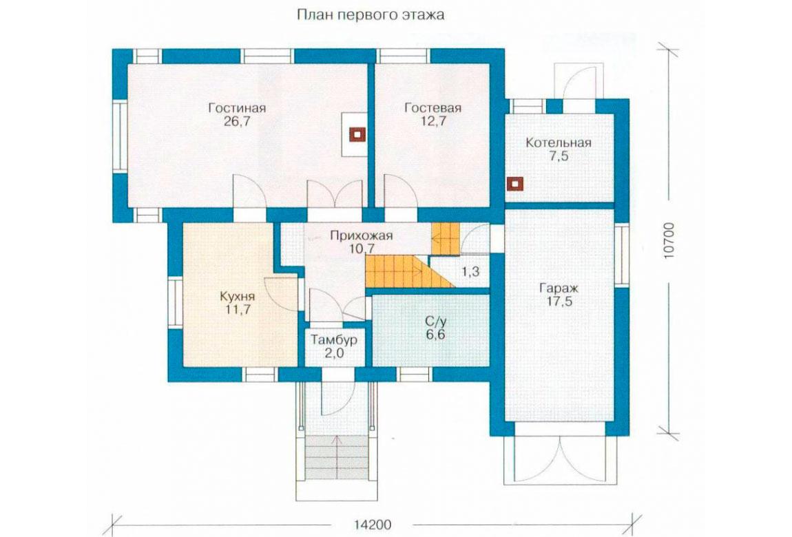 План N1 проекта дома из блоков АСД-1137
