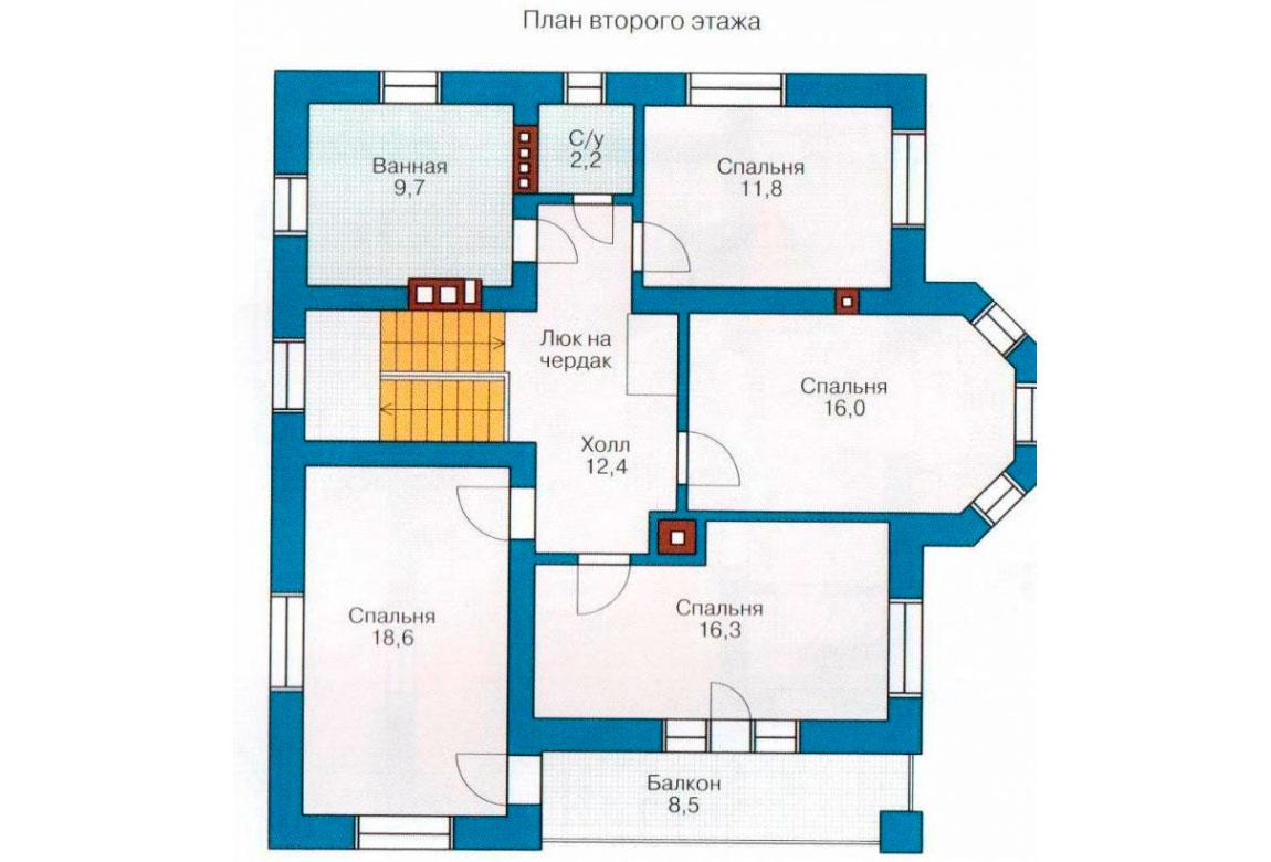 План N1 проекта дома из блоков АСД-1139