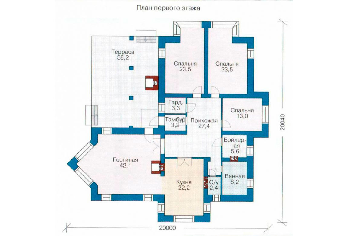 План N1 проекта кирпичного дома АСД-1014