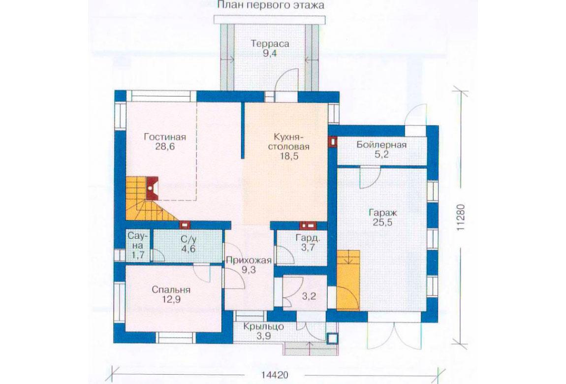 План N2 проекта дома из блоков АСД-1140