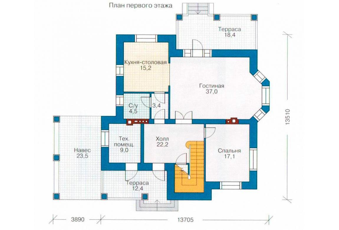 План N2 проекта дома из блоков АСД-1143