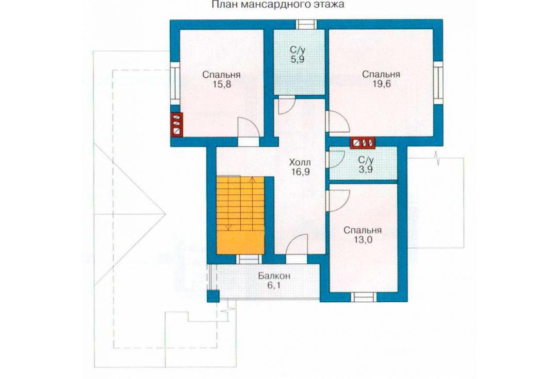 План N2 проекта дома из блоков АСД-1144
