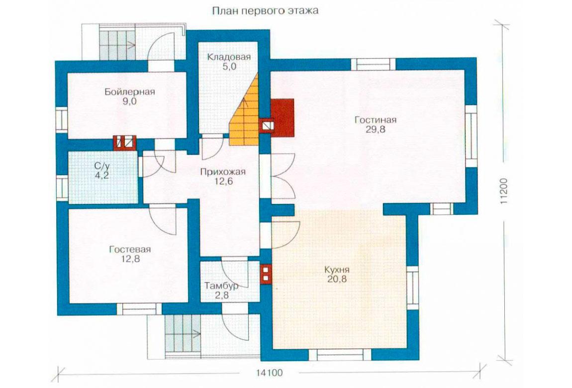 План N1 проекта дома из блоков АСД-1145