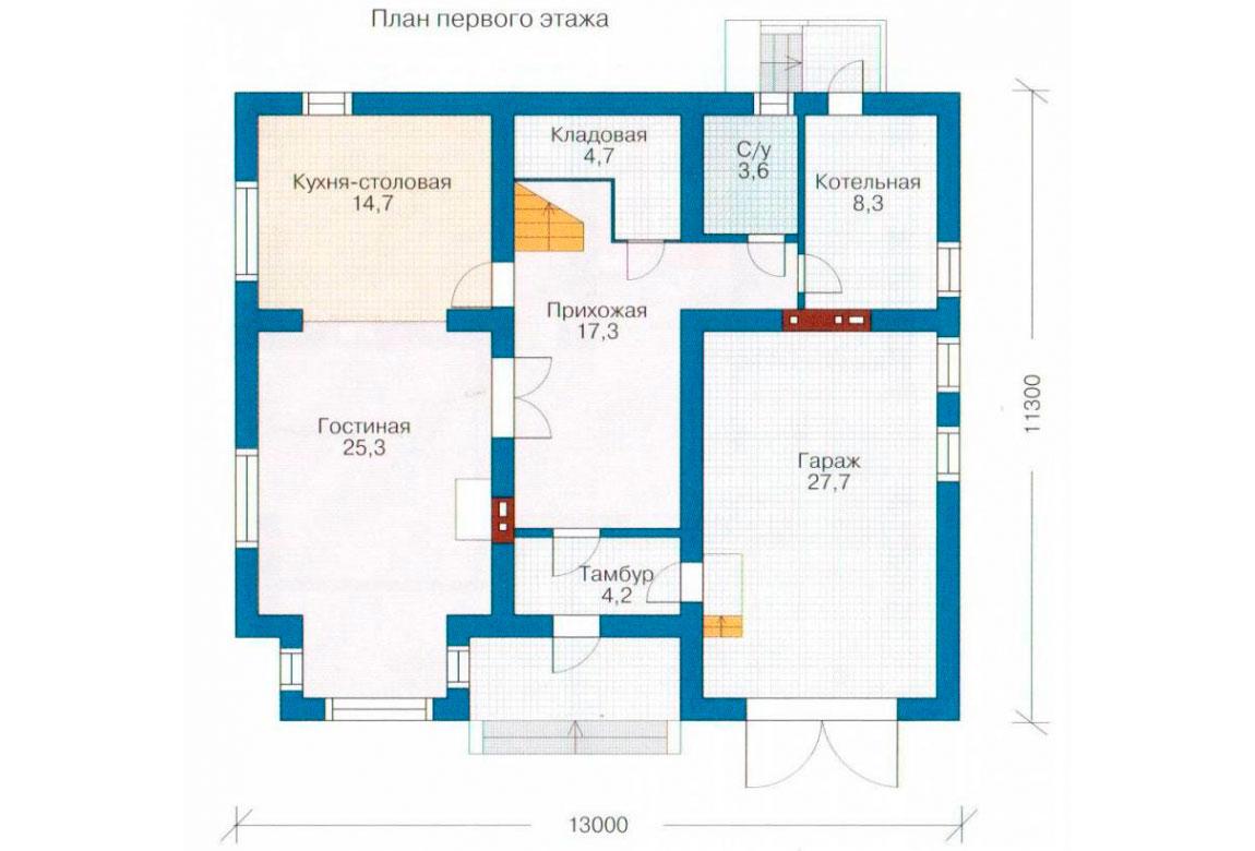 План N1 проекта дома из блоков АСД-1148