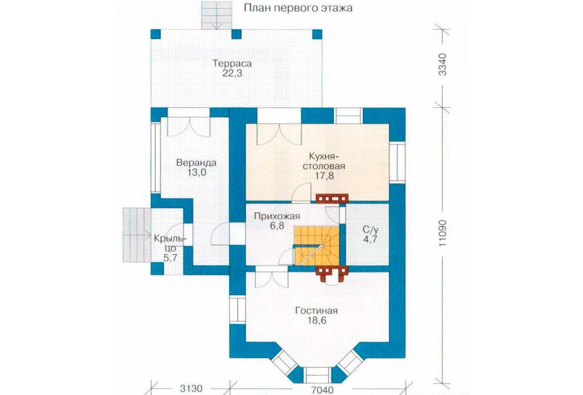 План N2 проекта кирпичного дома АСД-1015