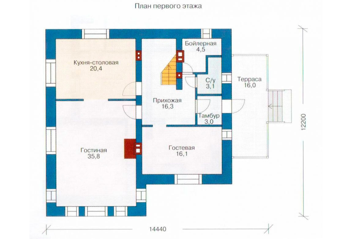 План N1 проекта дома из блоков АСД-1150
