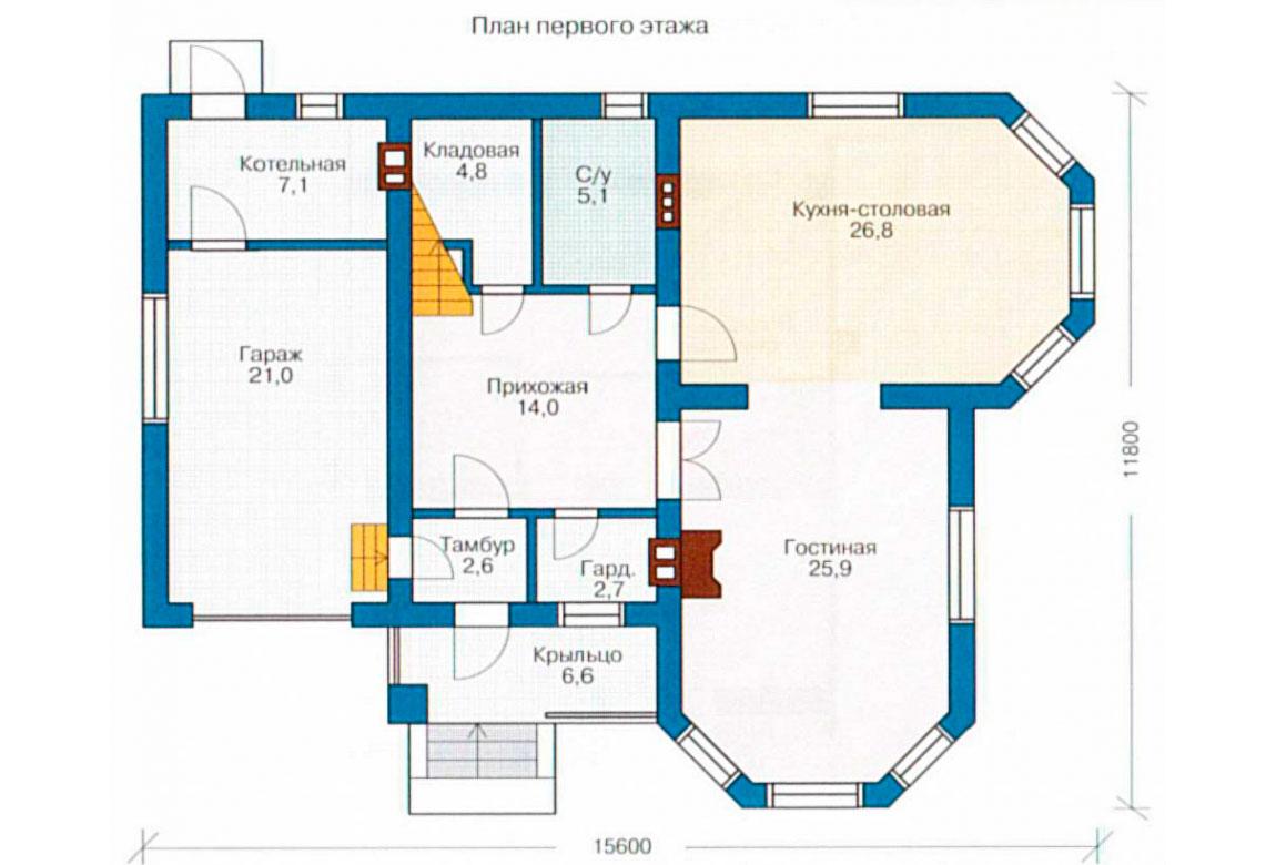 План N1 проекта дома из блоков АСД-1151