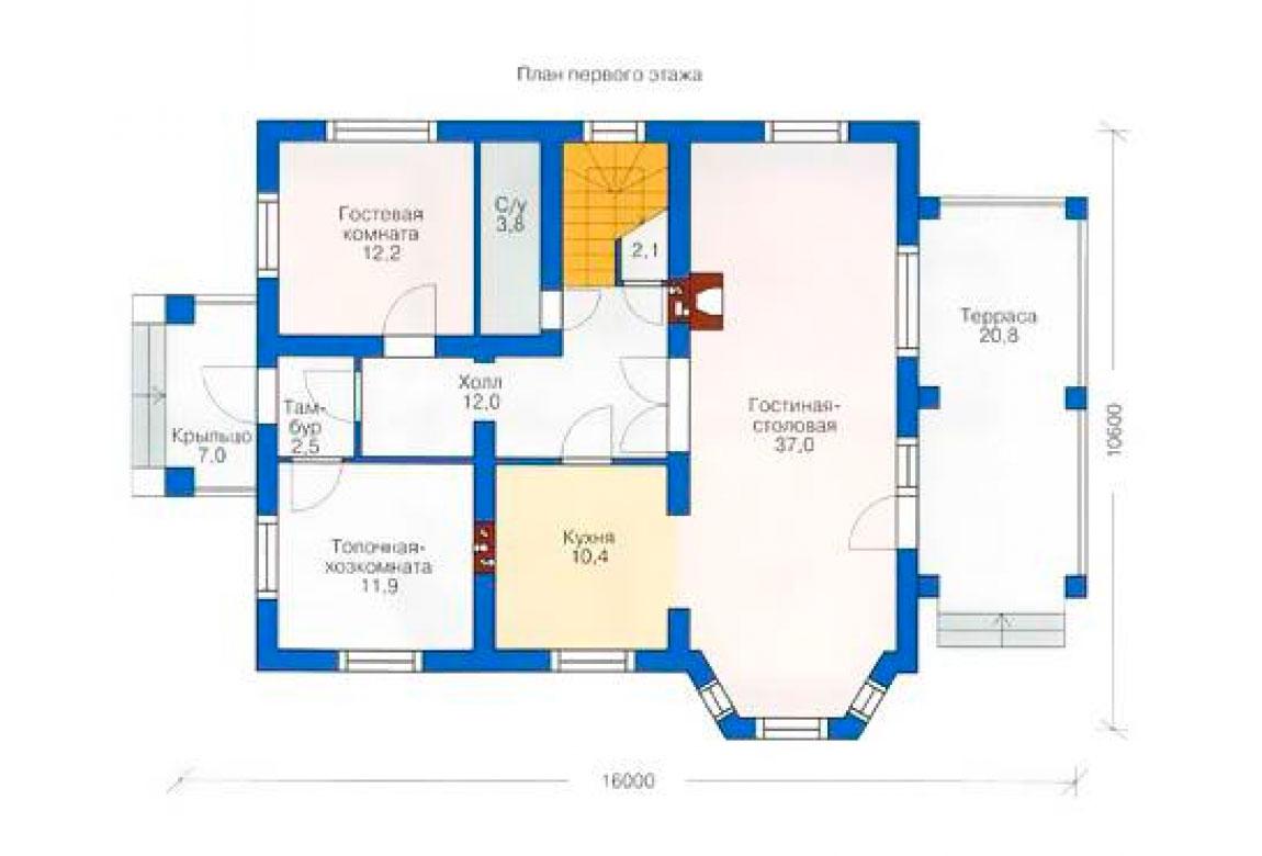 План N1 проекта дома из блоков АСД-1152